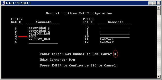 Menú Filter Set Configuration