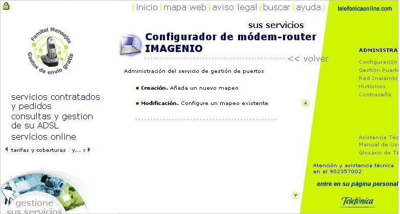 Menú Gestión de Puertos Portal Alejandra