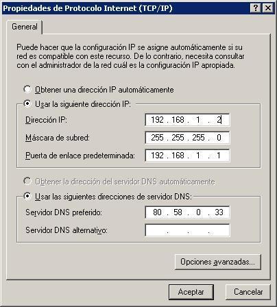 Propiedades de TCP/IP