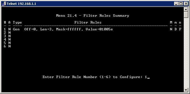 Menú Filter Rules Summary