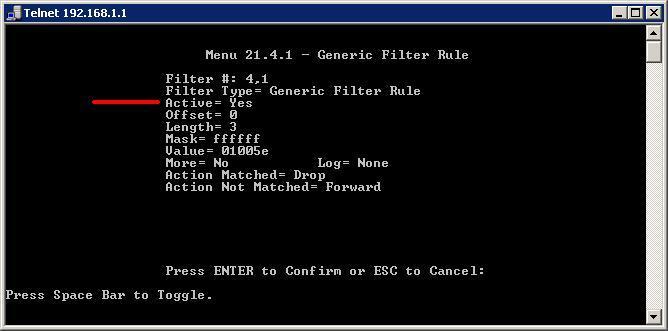 Menú Generic Filter Rule
