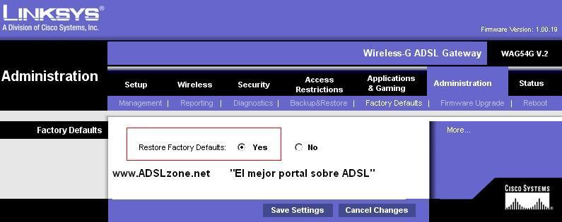 Reset del router Cisco Linksys a los valores de fábrica