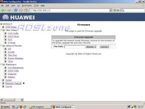 Actualización del firmware del router Huawei MT882
