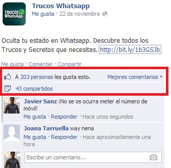 Anuncio Trucos WhatsApp Facebook