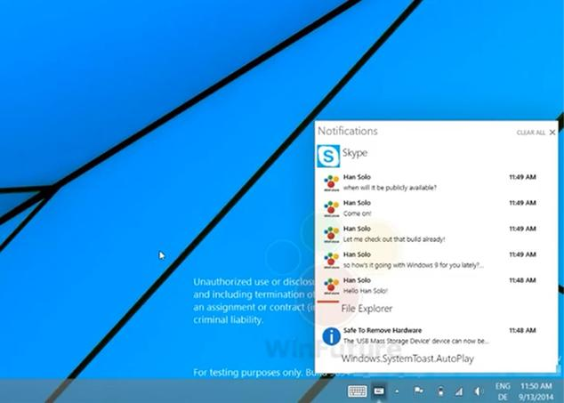 Ver noticia 'El centro de notificaciones de Windows 9 se deja ver en vídeo'