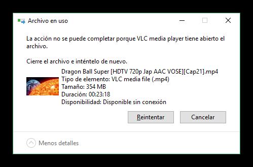 Archivo bloqueado o en uso en Windows 10