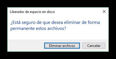 Confirmar liberar espacio en disco duro