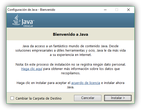 Descargando Java oficial