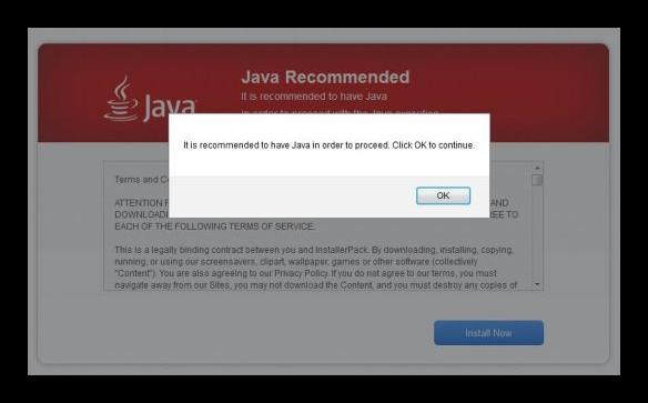 Falsa instalación Java
