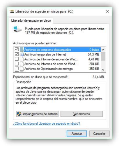Liberar espacio en el disco duro sin administrador