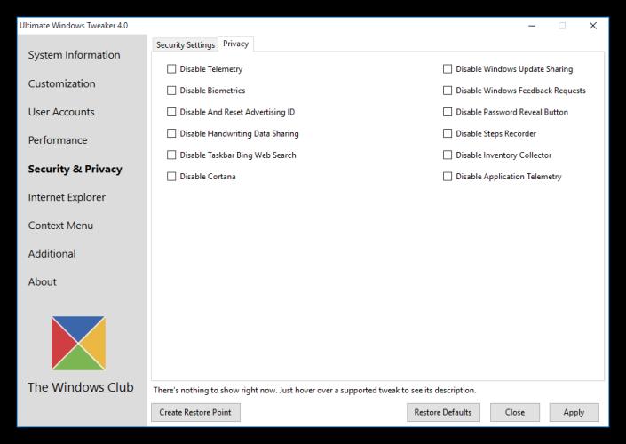 Ultimate Windows Tweaker - Opciones de privacidad de Windows 10