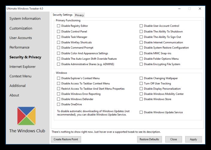 Ultimate Windows Tweaker - Opciones de seguridad de Windows 10
