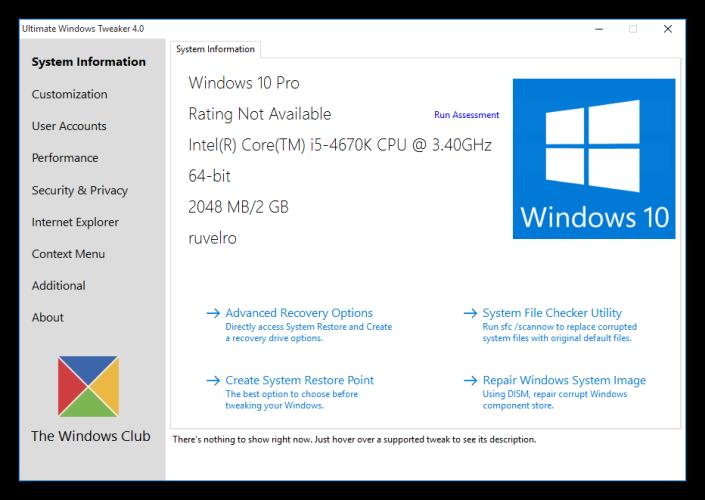 Ultimate Windows Tweaker - Ventana principal