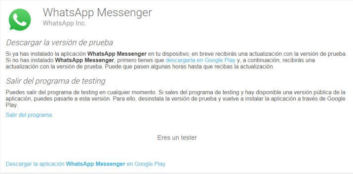 Proba la beta de WhatsApp con sus últimas novedades