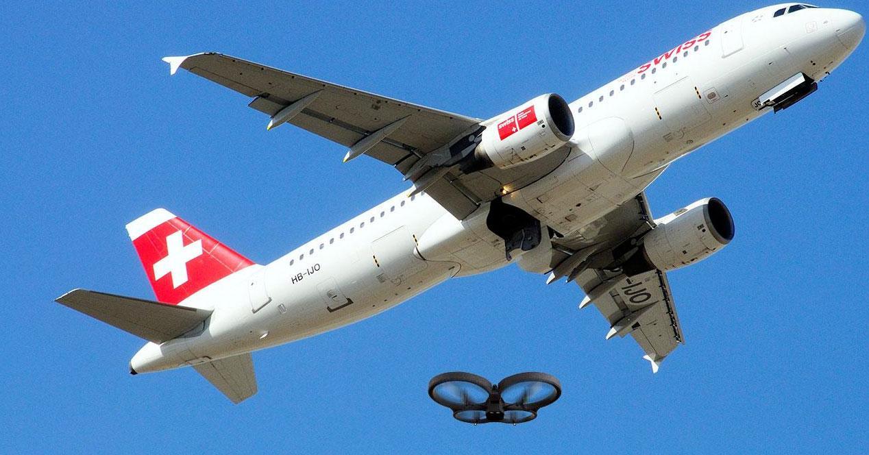 Drone y avión