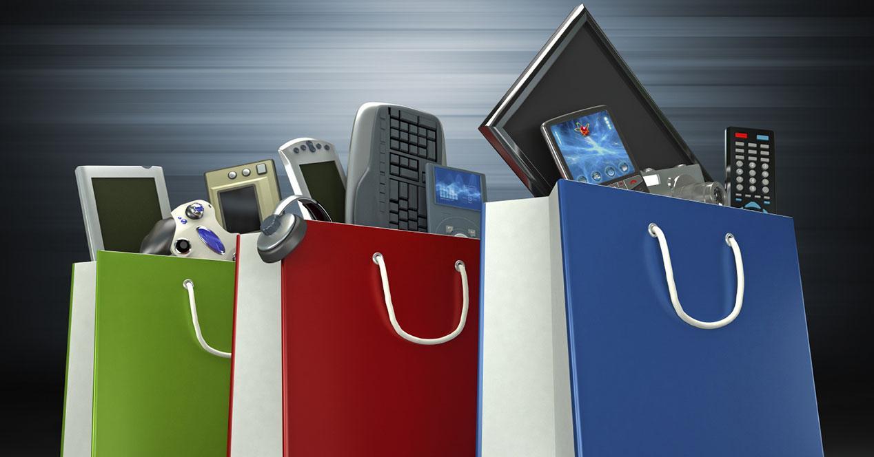 bolsas de la compra con diferentes gadgets