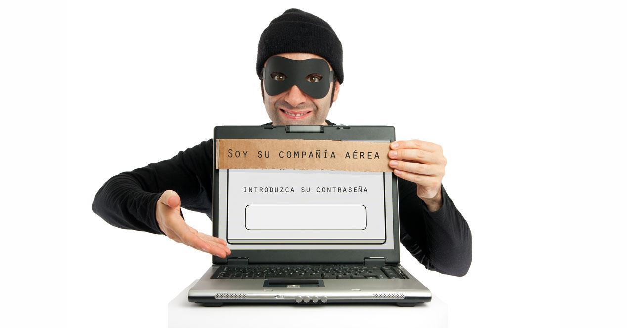 ladron compañía aerea