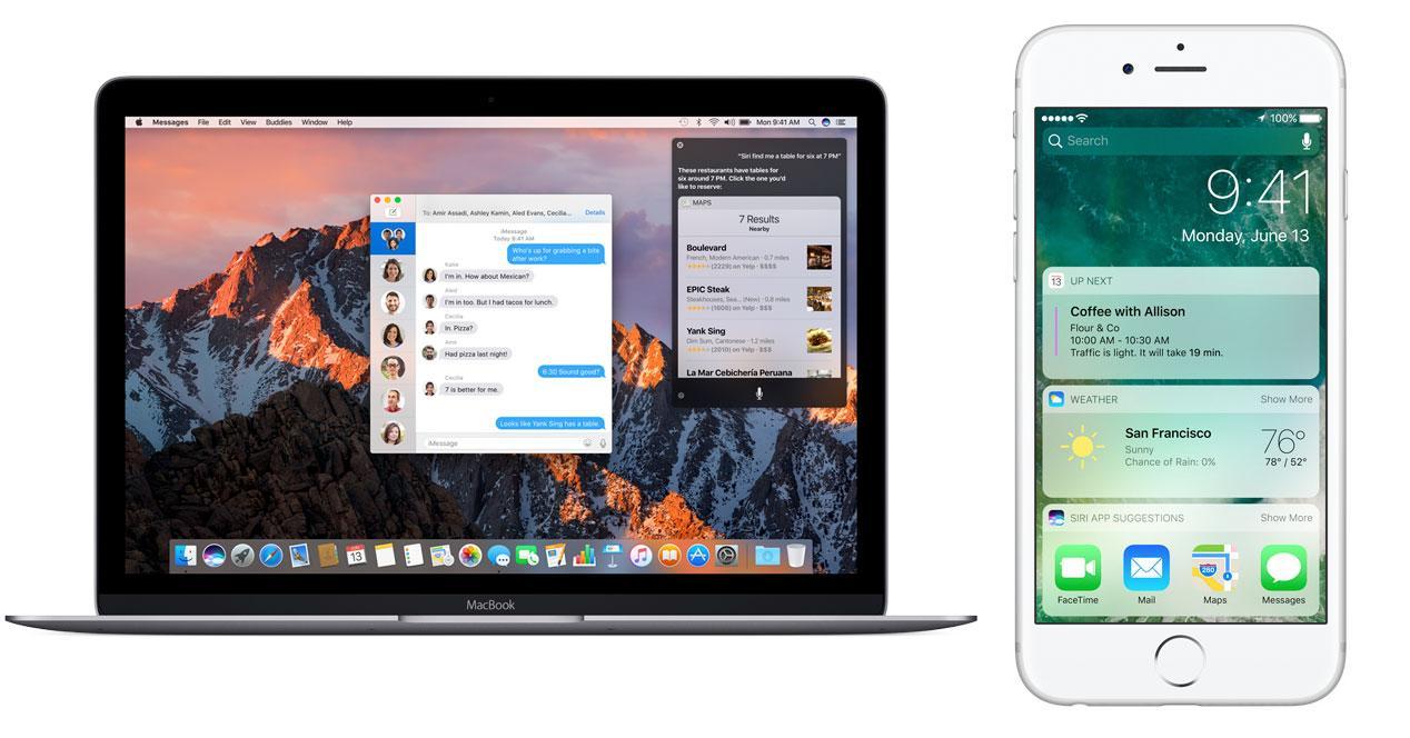 iOS 10 y macOS Sierra