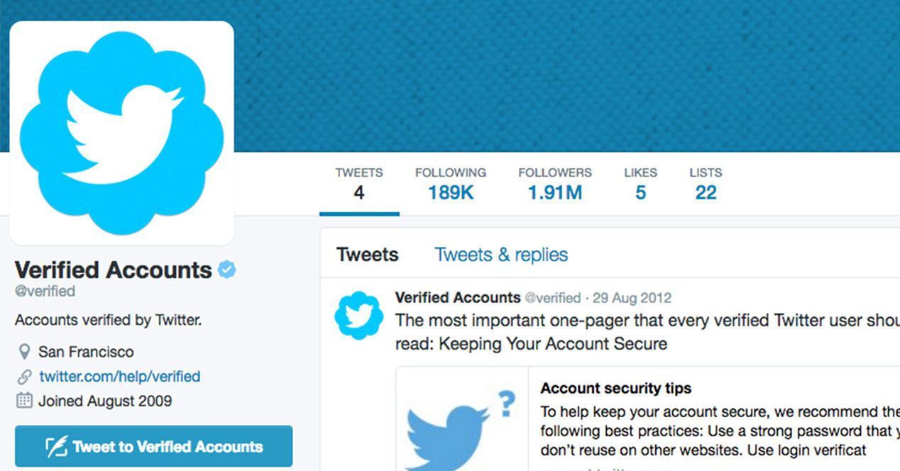 cuenta verificada de Twitter