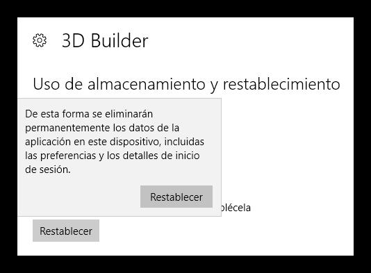 Confirmar restablecer una aplicacion UWP en Windows 10