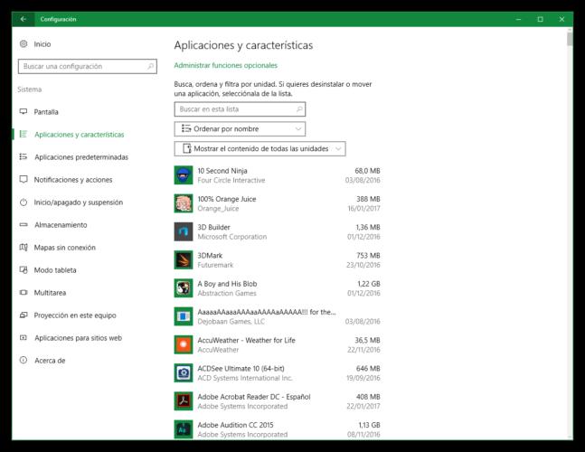 Lista de aplicaciones instaladas en Windows 10