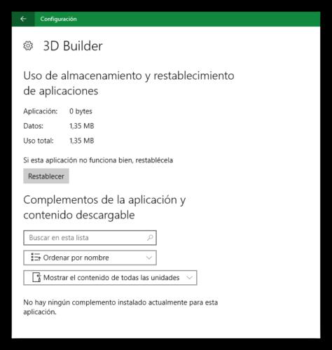 Opciones avanzadas de una aplicación en Windows 10