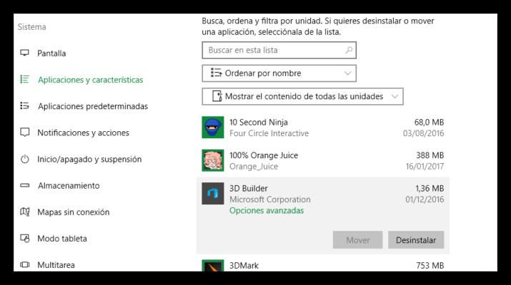 Opciones de apps en Windows 10