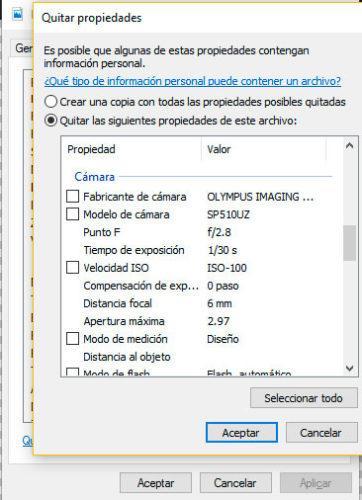 eliminar propiedades fotos Windows 10