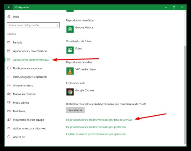 Cambiar aplicaciones predeterminadas Windows 10
