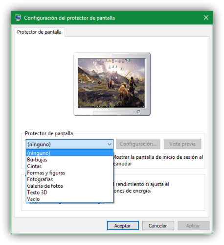 Lista de protectores de pantalla Windows 10