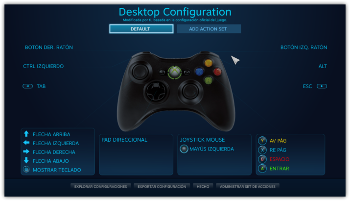 Mapeo mando Xbox 360 en Steam
