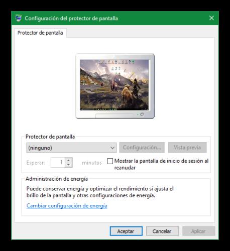 Propiedades de protector de pantalla Windows 10