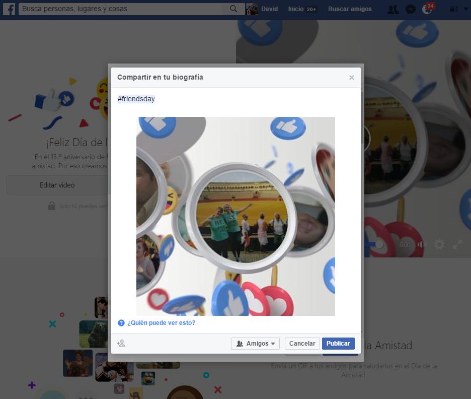 publicar día de la amistad Facebook