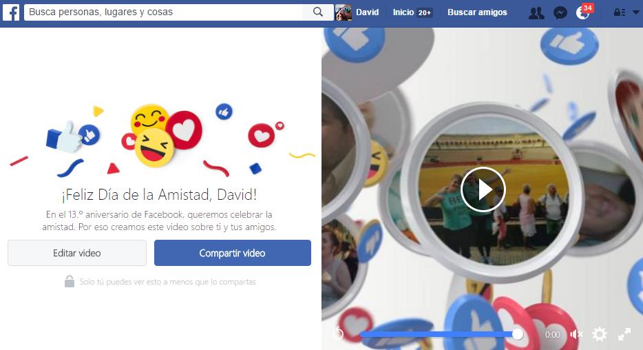 página día de la amistad Facebook