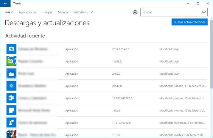 actualizaciones automáticas de las aplicaciones de Windows 10