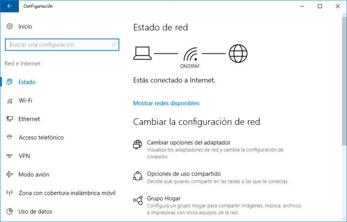 configuración de red en Windows 10