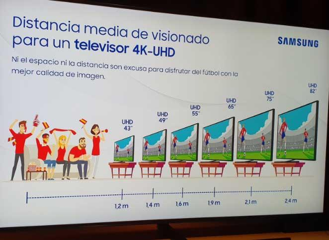 distancia tv 4k samsung