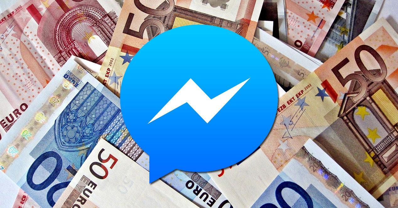 logo facebook messenger con dinero euros
