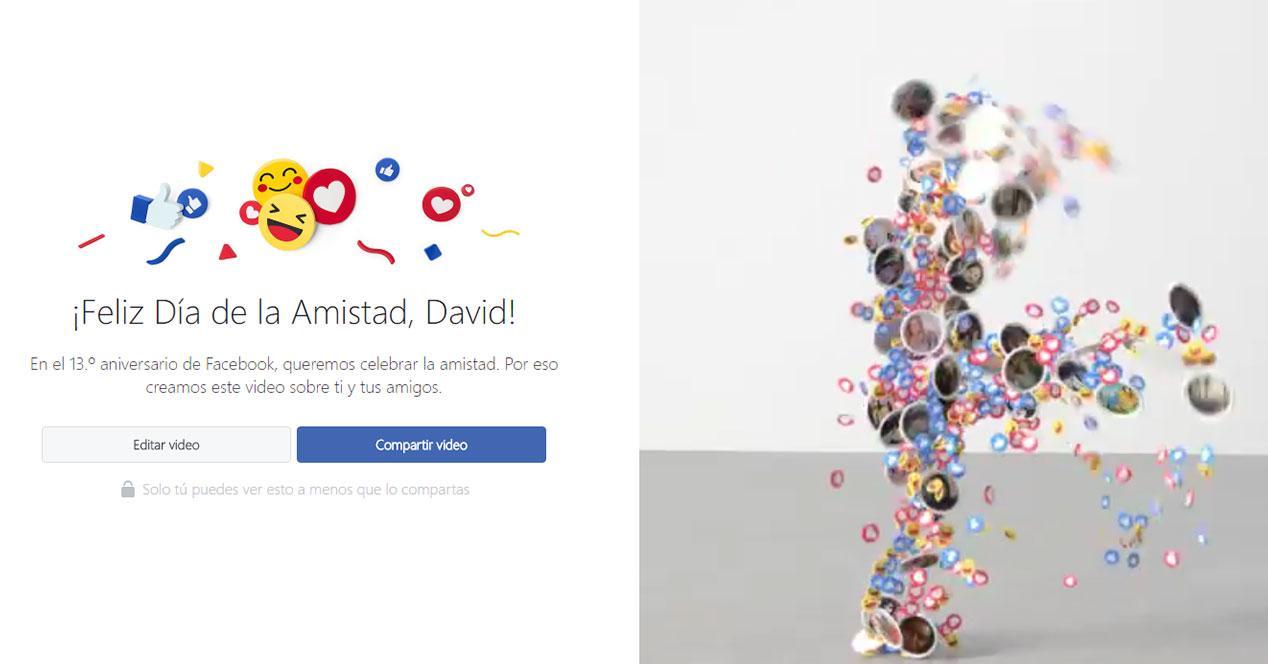 facebook vídeo dia de la amistad
