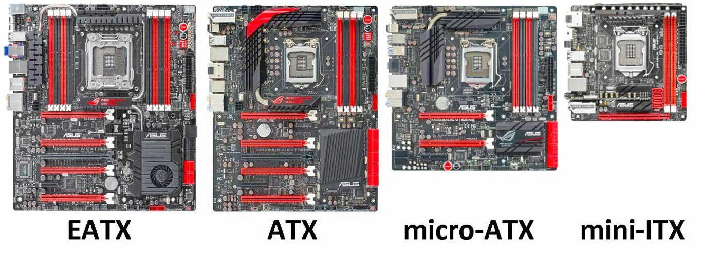 De izquierda a derecha los diferentes factores de forma para nuestra placa base. EATX, ATX, micro-ATX, mini-ITX.