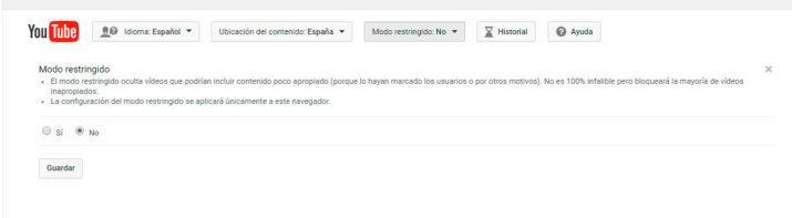 modo restringido de YouTube