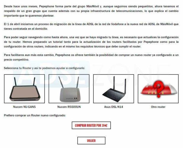 migración a MásMóvil ADSL