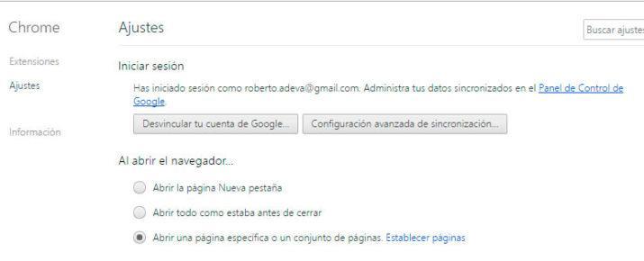 Privacidad Google Chrome