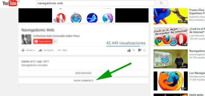 ocultar comentarios de youtube