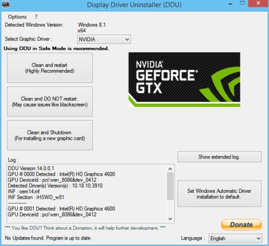 Solucionar problemas de los drivers NVDIA en Windows 10