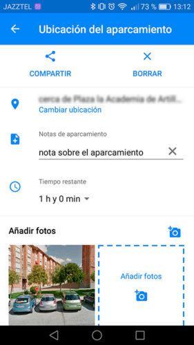 nota aparcamiento Google Maps