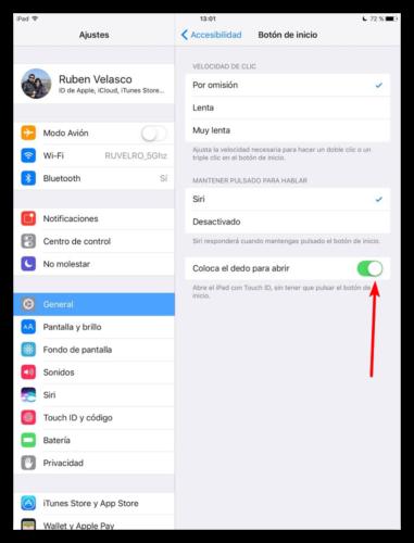 Habilitar desbloqueo colocando dedo iOS