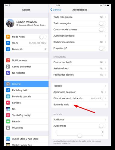 Opciones de accesibilidad de botón de inicio iOS