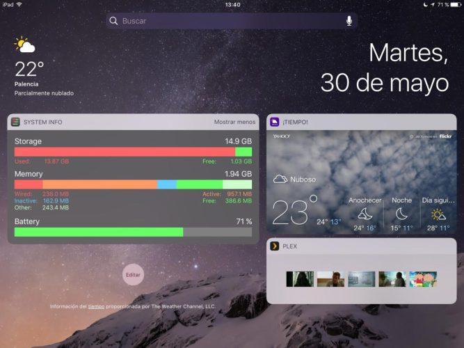 Pantalla widgets iOS 10 dos columnas