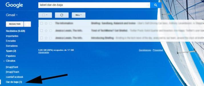 darse de baja suscripciones gmail